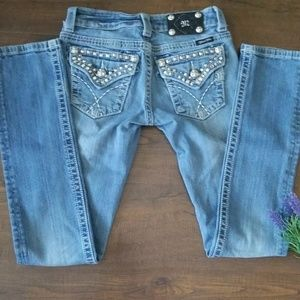 MISS ME Embellished Flap Pocket Straight Jean's 25